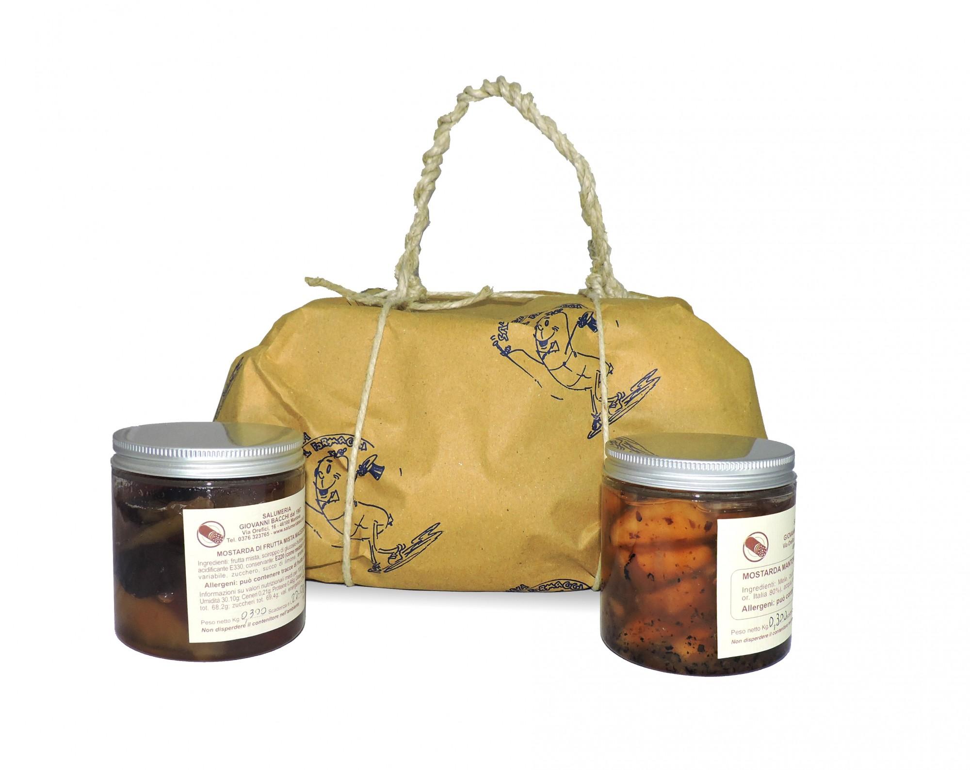 Pacco regalo mostarda di frutta mista di macedonia e for Mostarda di mele mantovana